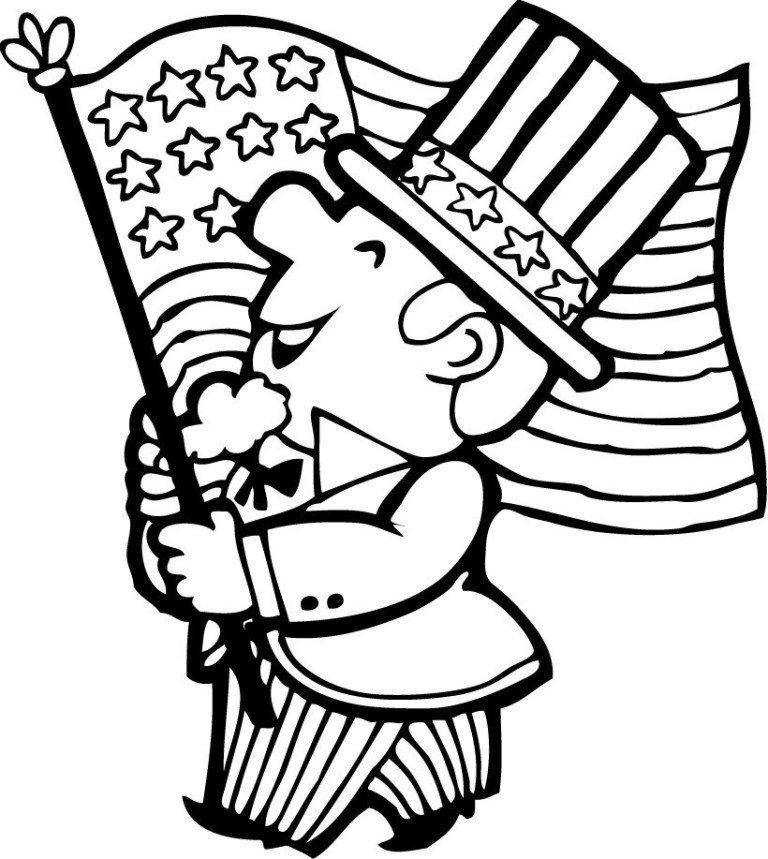 flag march 4th of July coloring page